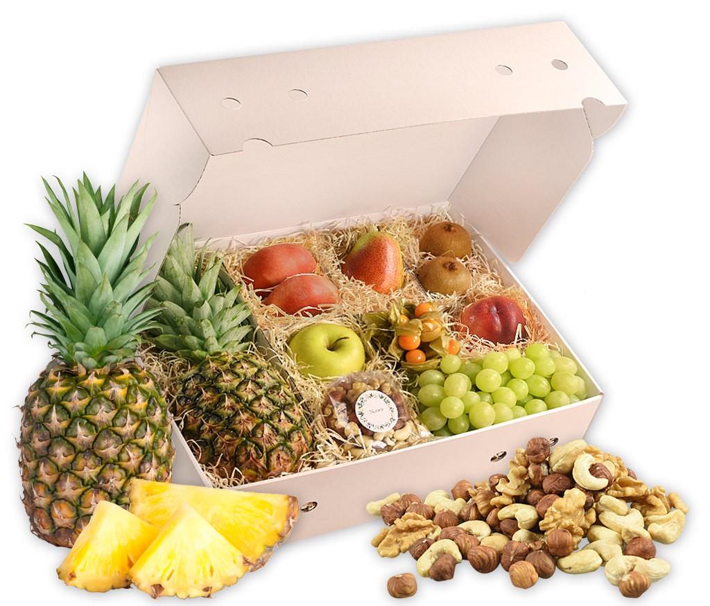 Obstbox Balance-Snack, gesunde Früchte und leckerer Nussmix für Wellness zu Hause