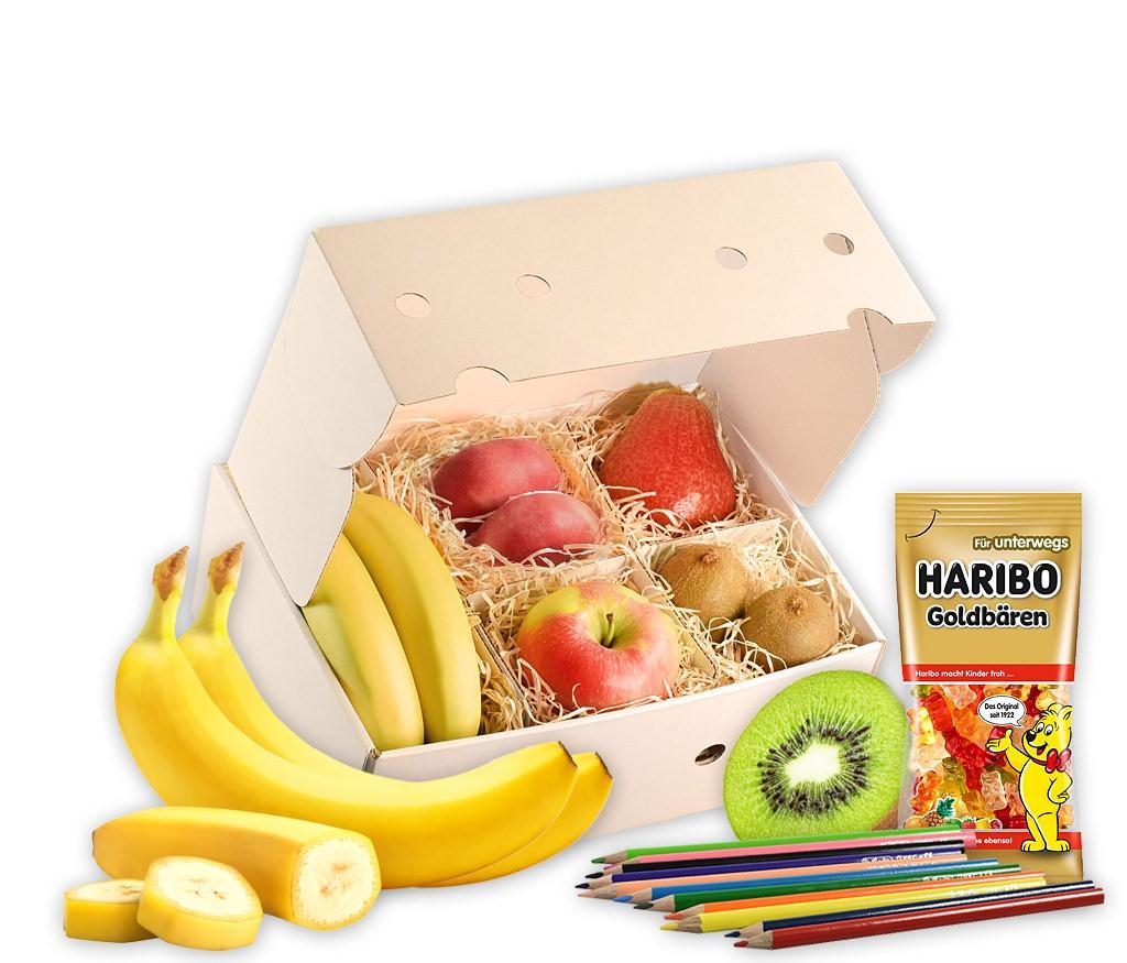 Obstbox Fruchtige Schultüte als tolle Geschenkidee für Kinder mit frischen Früchten, Buntstiften, Malvorlagen und Gummibärchen