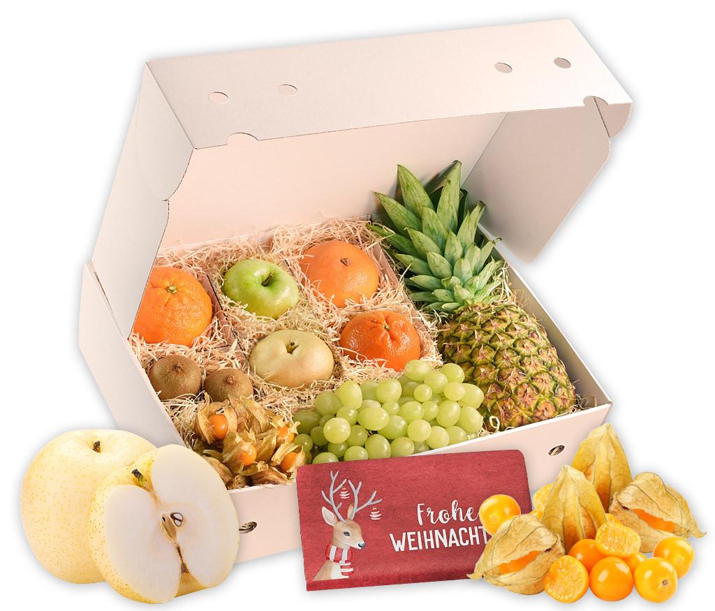 Obstbox Weihnachtliche Grußbotschaften, knackige und vitaminreiche Früchte und weihnachtliche Schokolade in einer schönen Geschenkbox