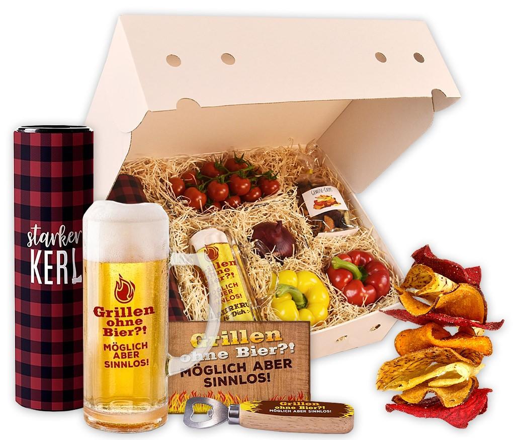 """Obstbox """"Grillen für starke Kerle"""" mit knackigem Gemüse, Knusprigen Gemüsechips, Bier, Bierglas, Flaschenöffner und Metallschild"""