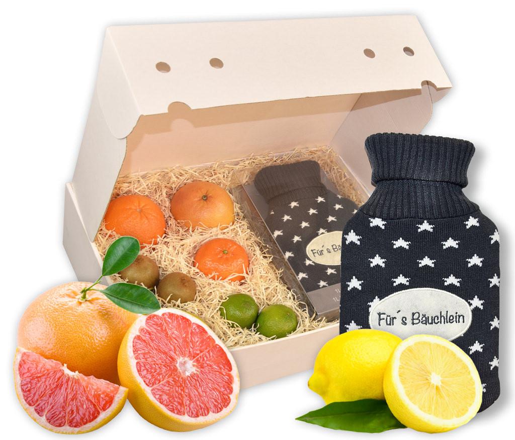Obstbox Vitamine & Wärmflasche, vitaminreiches Obst und kuschelige Wärmflasche für kühle Tage