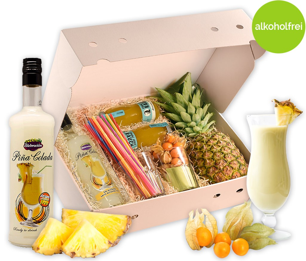 Cocktailbox Pinacolada mit allen Zutaten für den tropischen Cocktail als Hit für die nächste Party