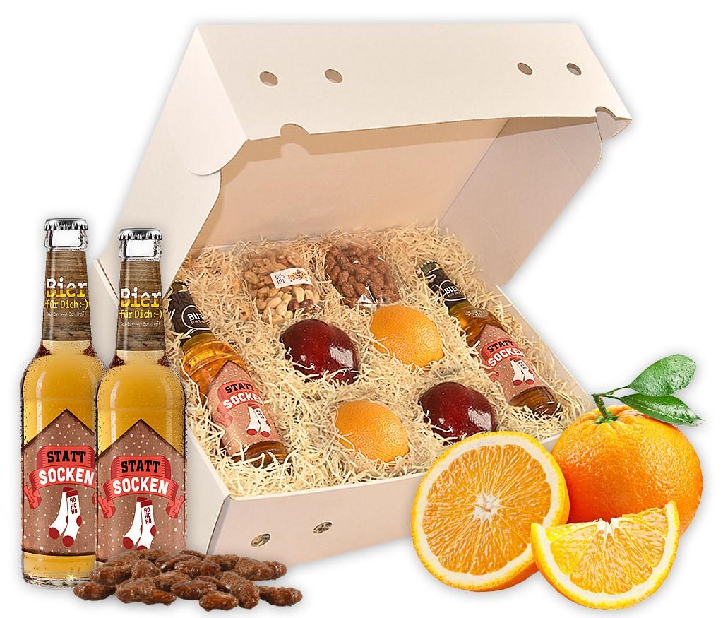 Obstbox Statt Socken mit Weihnachtsbier, Erdnüssen, Mandeln, Nussmix, BIO Bretzeln und frischem Obst