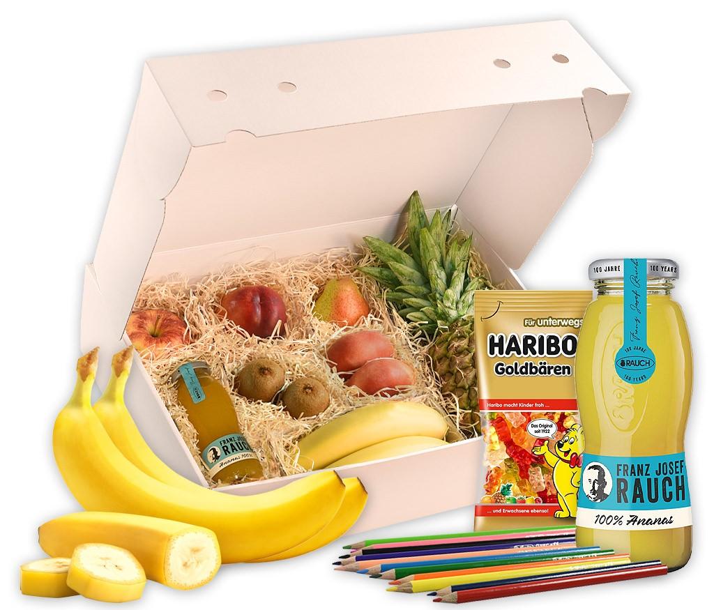 Obstbox Happy-Kids als tolle Geschenkidee für Kinder mit frischen Früchten, leckerem Saft, Buntstiften, Malvorlagen und Gummibärchen
