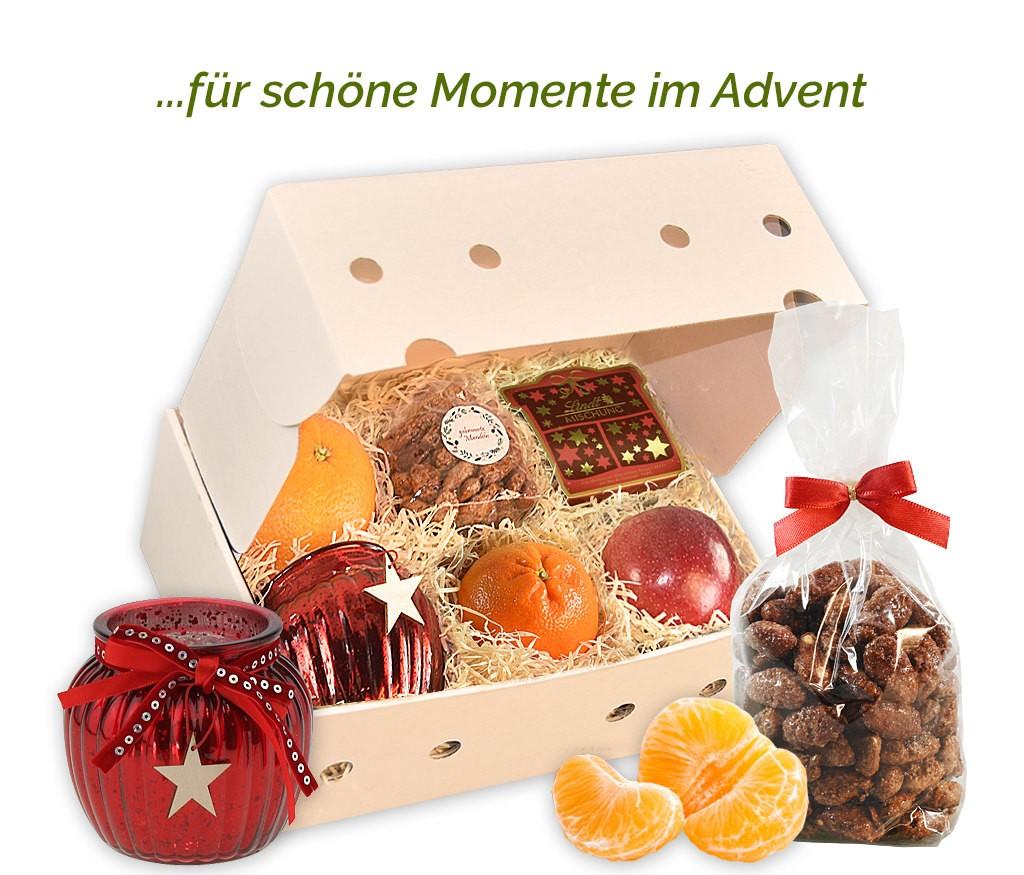 Obstbox Kleiner Adventsgruß mit Glühweintasse, gebrannten Mandeln und frischem Obst