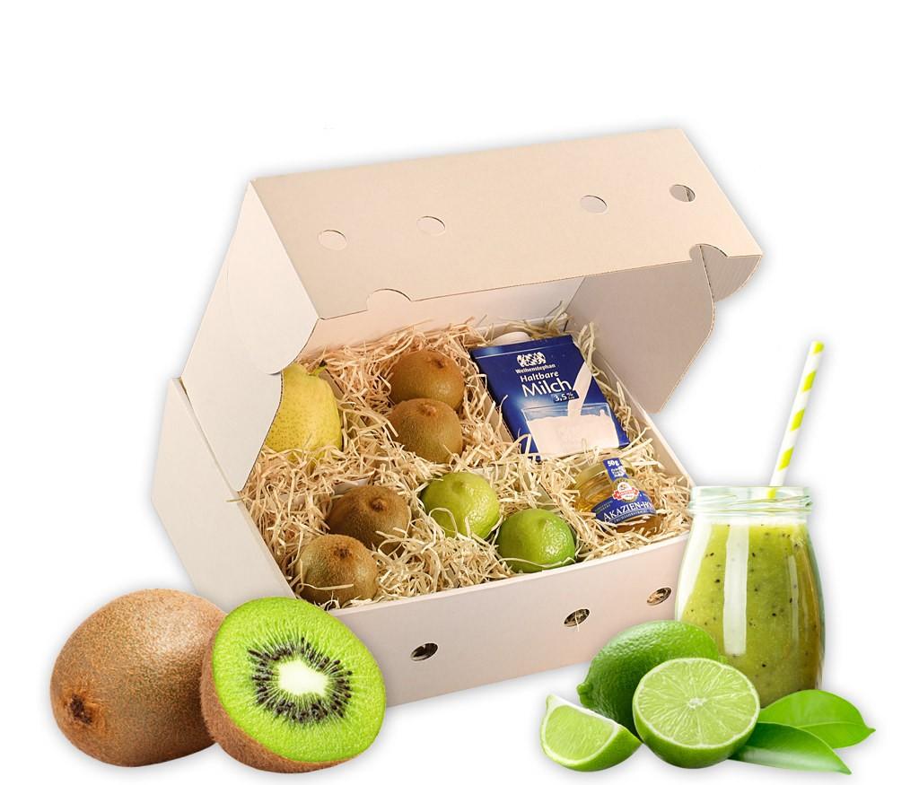 Smoothiebox Green-Pear mit allen Zutaten für einen leckeren grünen Smoothie, inklusive passendem Rezept