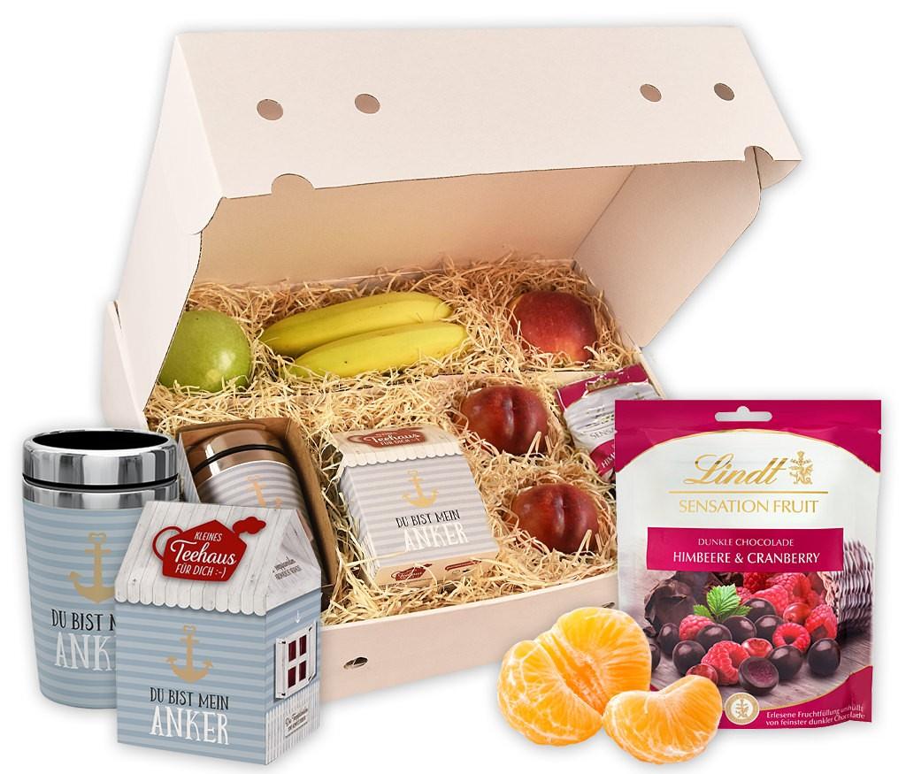 Obstbox Du bist mein Anker mit Thermobecher, Teehaus, gefriergetrockneten und frischen Früchten