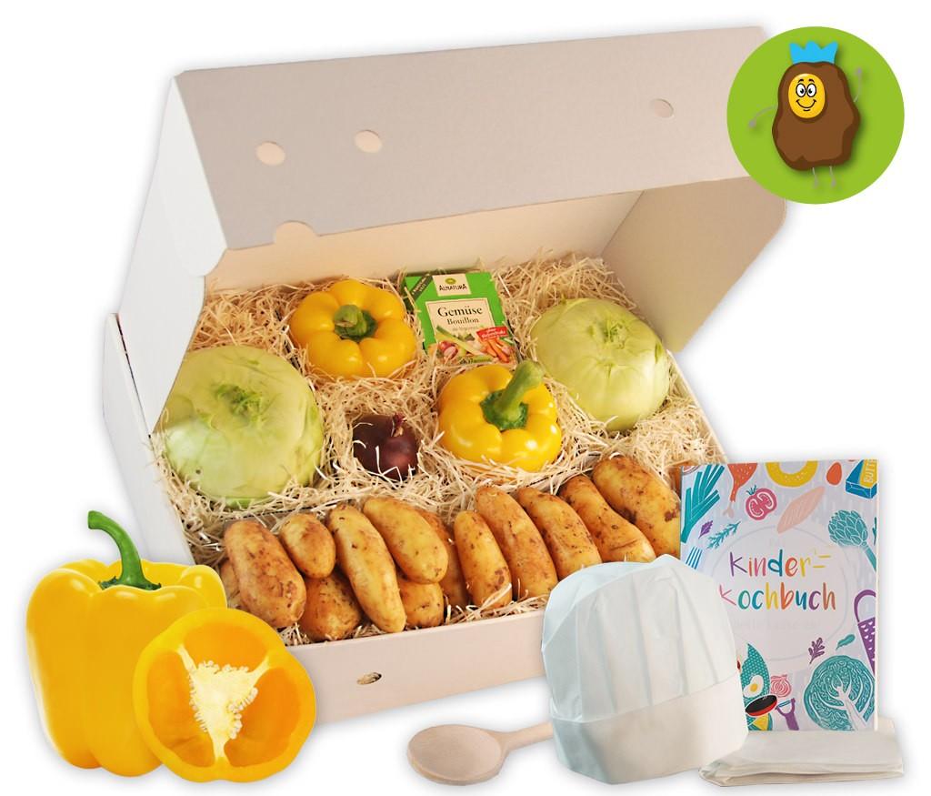 Kinderkochbox Kartoffelkönig für einen leckeren Kartoffel-Kohlrabi-Auflauf und mit Kochbuch