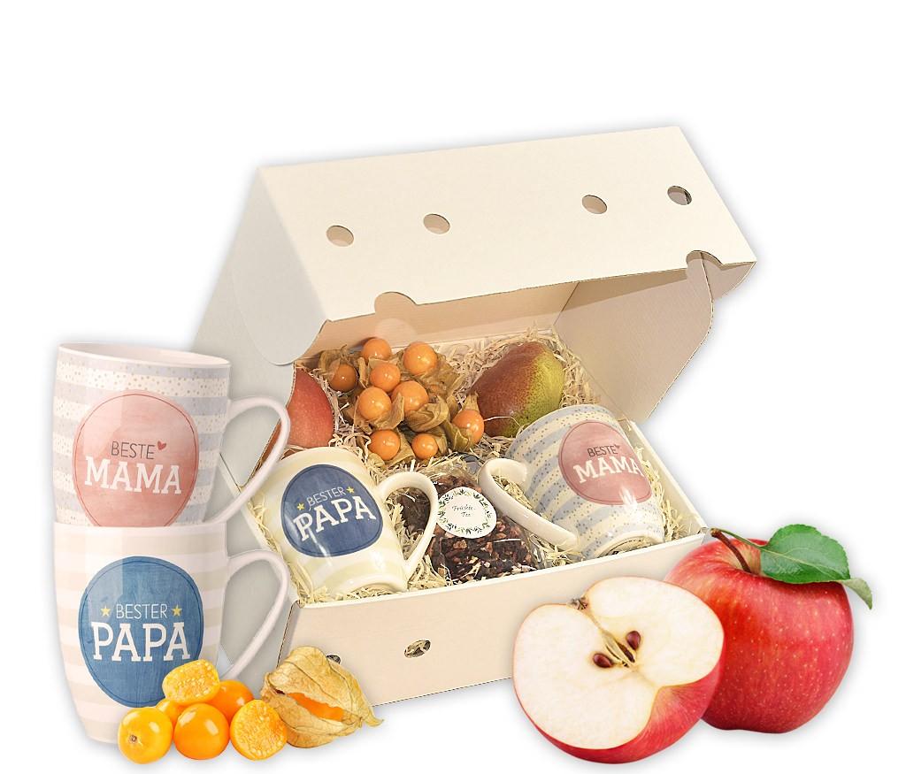 """Obstbox Grüße an Mama und Papa mit frischen Früchten und hübschen Tassen """"Beste Mama"""" und """"Bester Papa"""""""