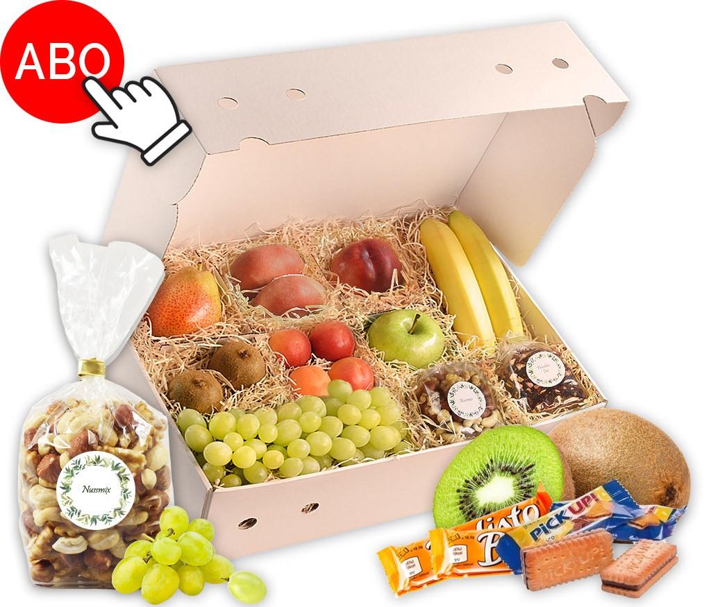 Obstbox Bleib gesund mit viel frischem Obst, gesunden Nusskernen, Früchte-Tee & Schoki