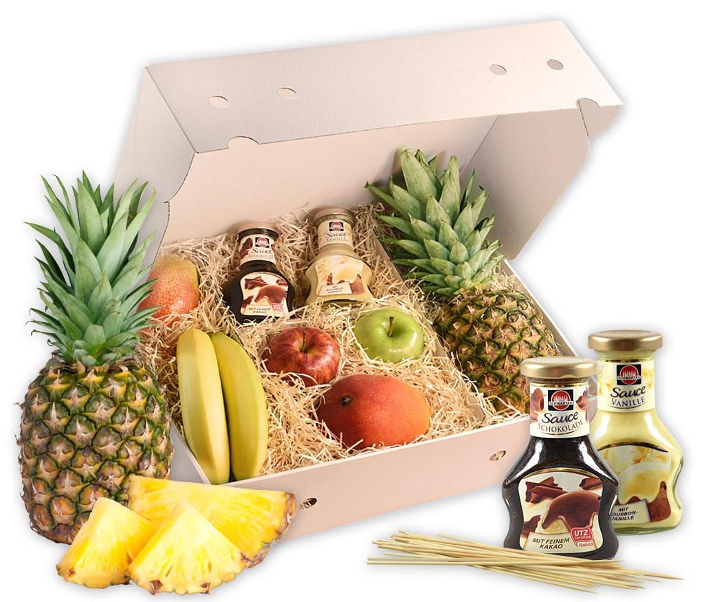 Grillbox Gobst, frische Früchte und leckere Schoko- und Vanillesauce