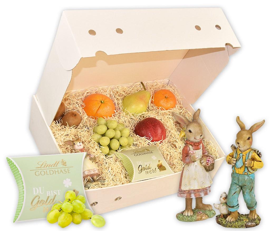 Obstbox Hasenliebe mit zwei hübschen Keramik-Osterhasen und frischem Obst