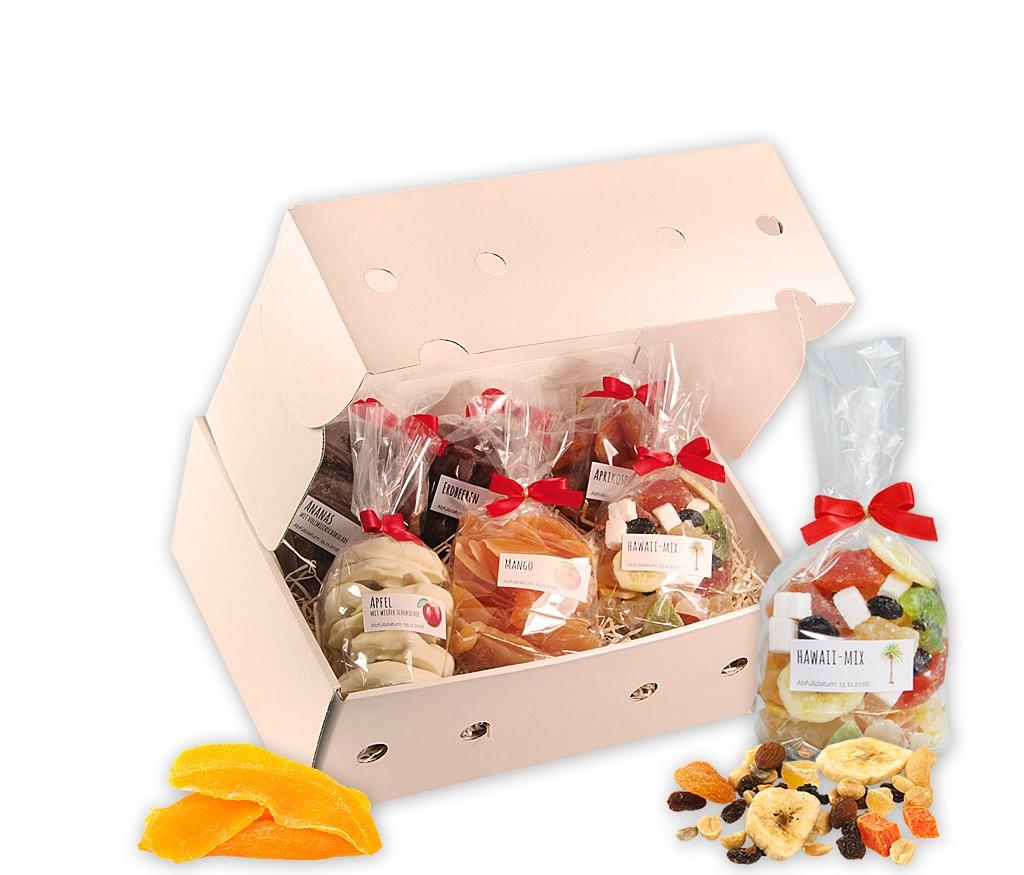 """Obstbox Trockenfrüchte mit feinem exotischen Trockenobst: Aprikosen, Erdbeeren und Mango, Trockenobst-Mix Hawaii, Ananasringen und Apfelringen in Schokolade, wahlweise mit Buch """"Dörren"""""""