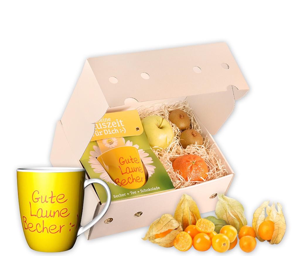 Obstbox Gute Laune mit frischem Obst, einer Spruch-Tasse, Schokolade und aromatischem Früchtetee in einer Geschenkbox