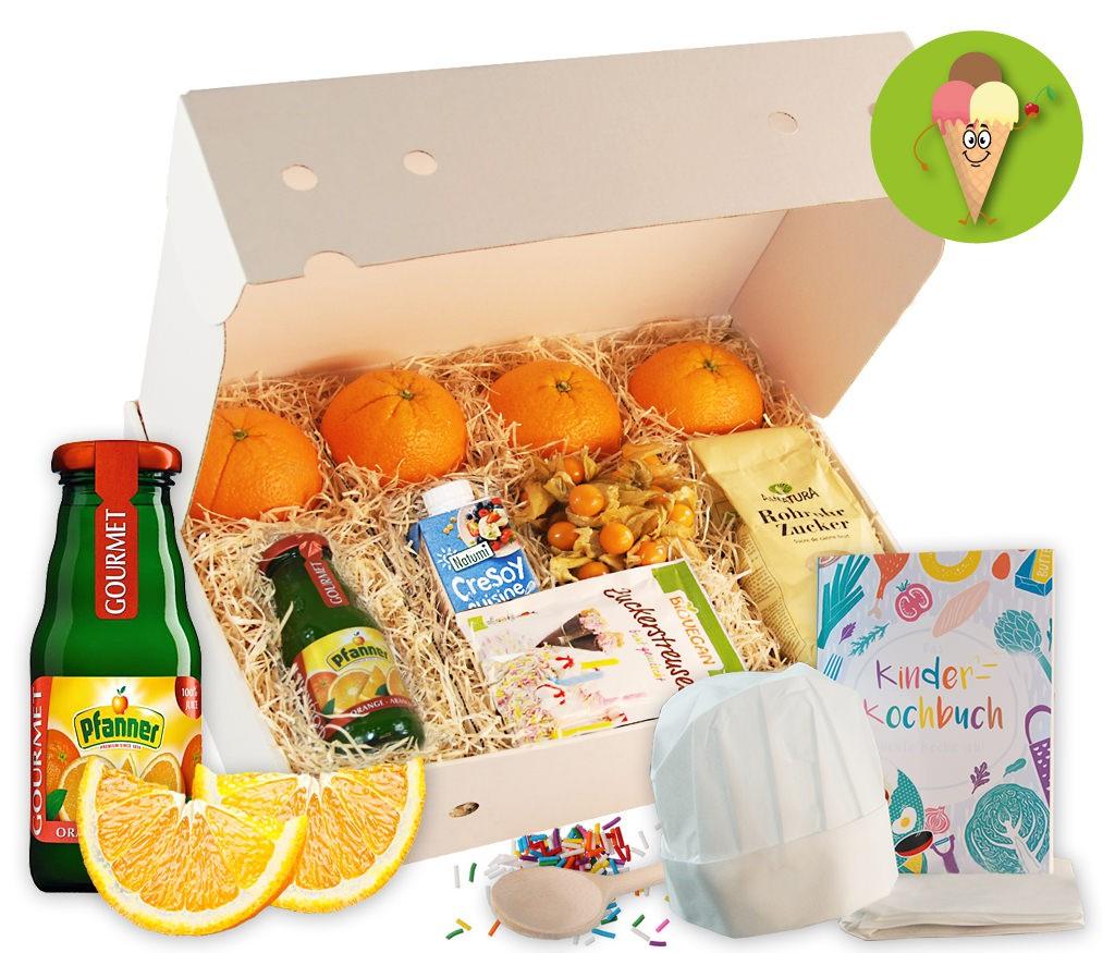 Kinderkochbox Eiszauberer für ein leckerer Orangeneis als Dessert und mit Kochbuch