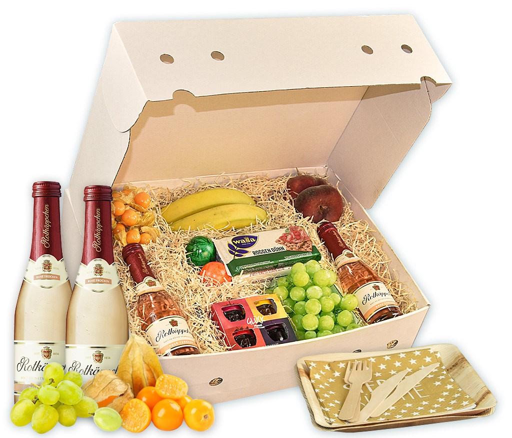 Obstbox Picknick-for-two, Sekt, Obst und Schokosauce für ein romantisches Picknick im Grünen