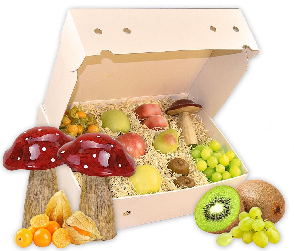 Obstbox Pilzsammler mit frischem Obst und dekorativen Mangoholz Fliegenpilzen