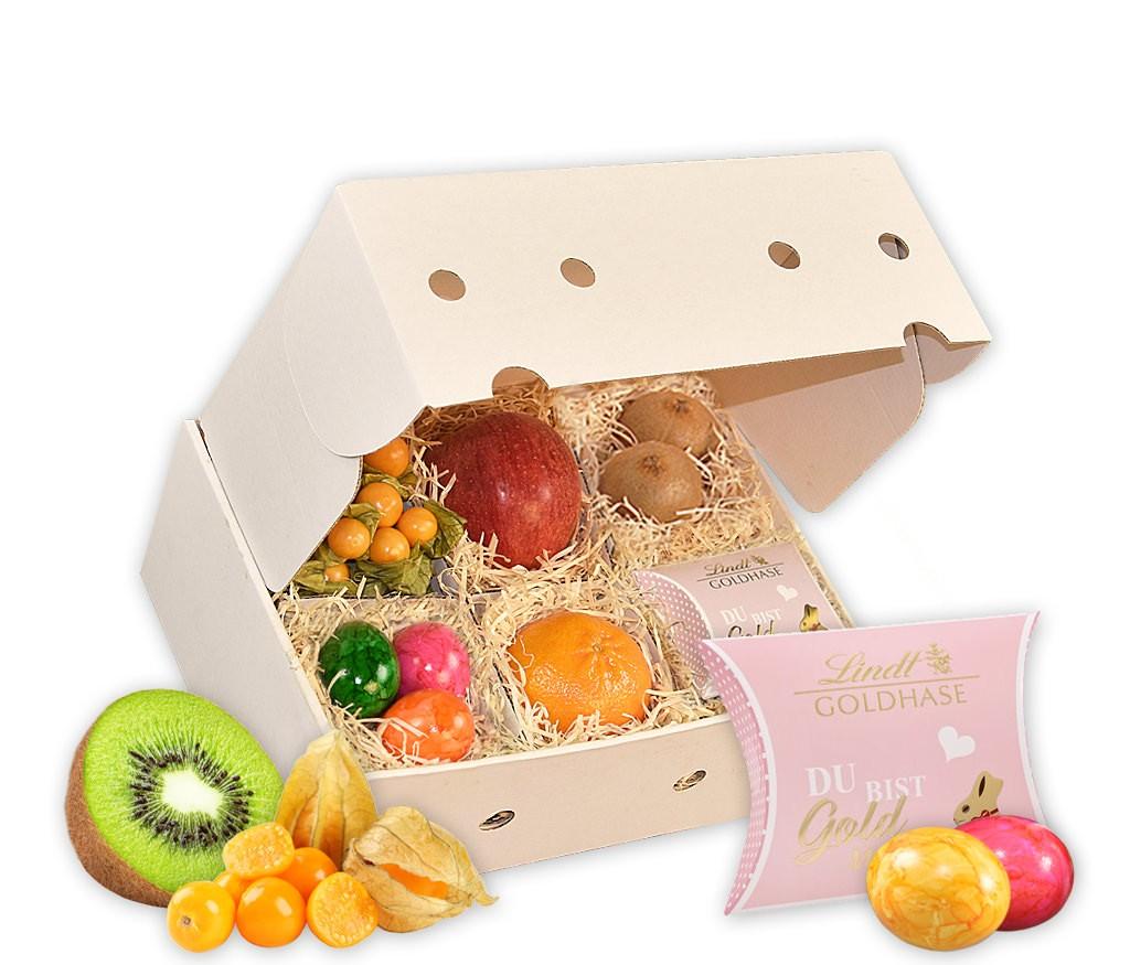 Obstbox Kleine Osterfreude mit frischem Obst, bunten Ostereiern, zartschmelzenden Lindor-Kugel und Mini Goldhase