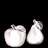 2er-Set silberfarbene Früchte (Apfel & Birne)