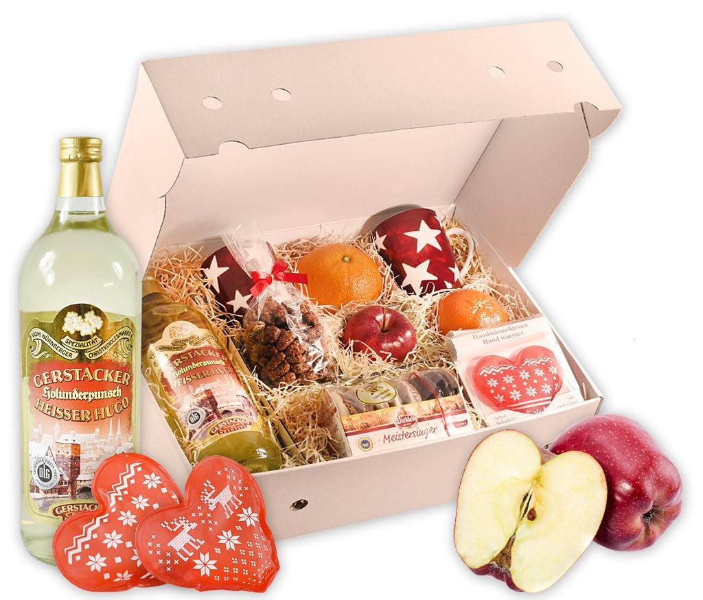 Obstbox Taschenwärmer mit Nürnberger Lebkuchen, gebrannten Mandeln, dekorativen Tassen, Heißem Hugo und frischem Obst