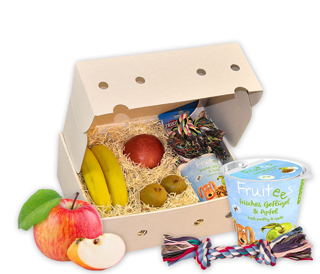 Geschenkbox Auf den Hund gekommen mit Hundespielzeug, Hundeleckerlie und frischem Obst