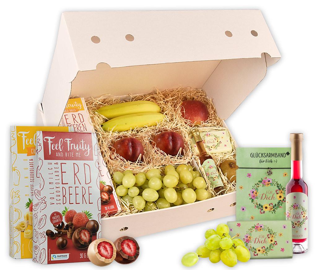 Obstbox Feel Love and Fruity mit Glücksarmband, Kirschlikör, Vollmilchschokolade, gefriergetrockneten und frischen Früchten