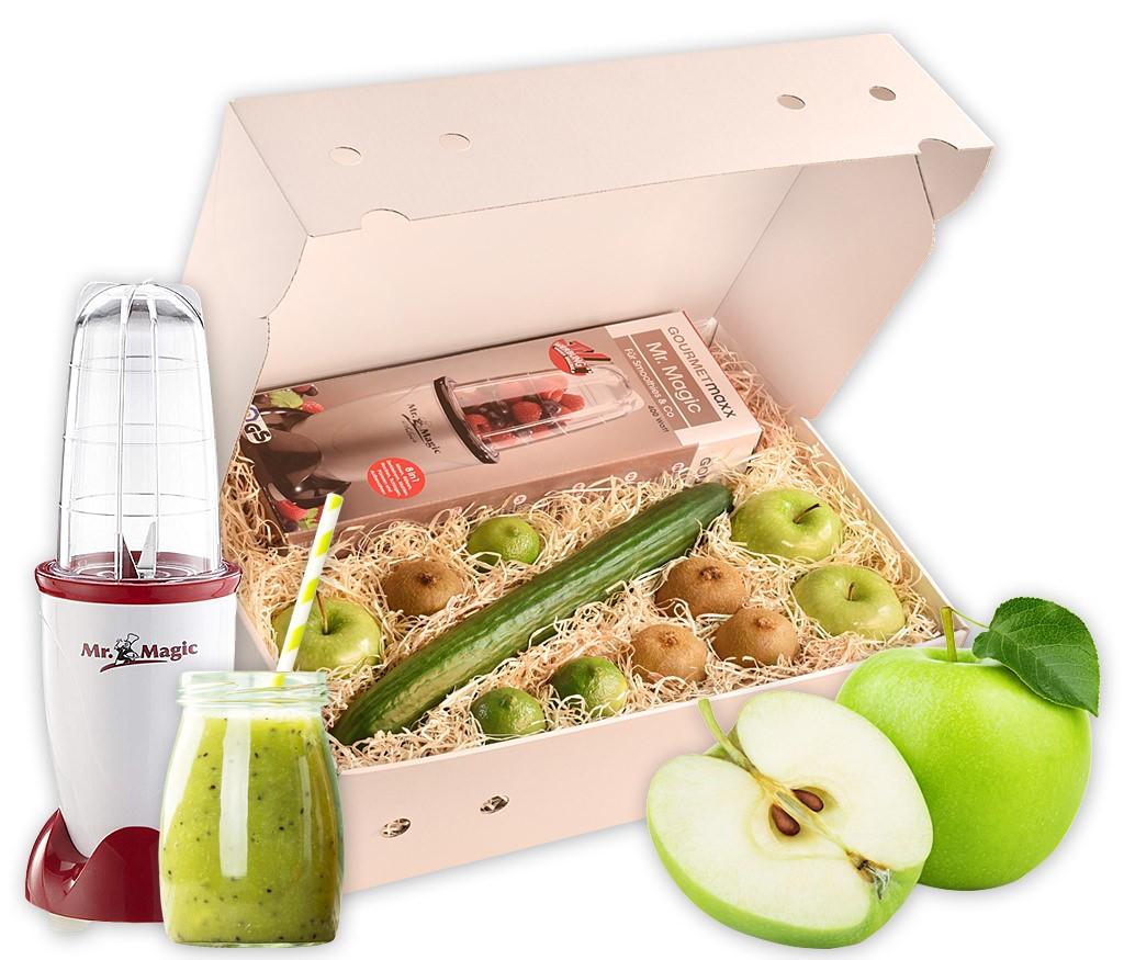 Smoothiebox Greenlife mit Zutaten für einen gesunden grünen Smoothie, wahlweise mit Smoothie-Maker Mr. Magic