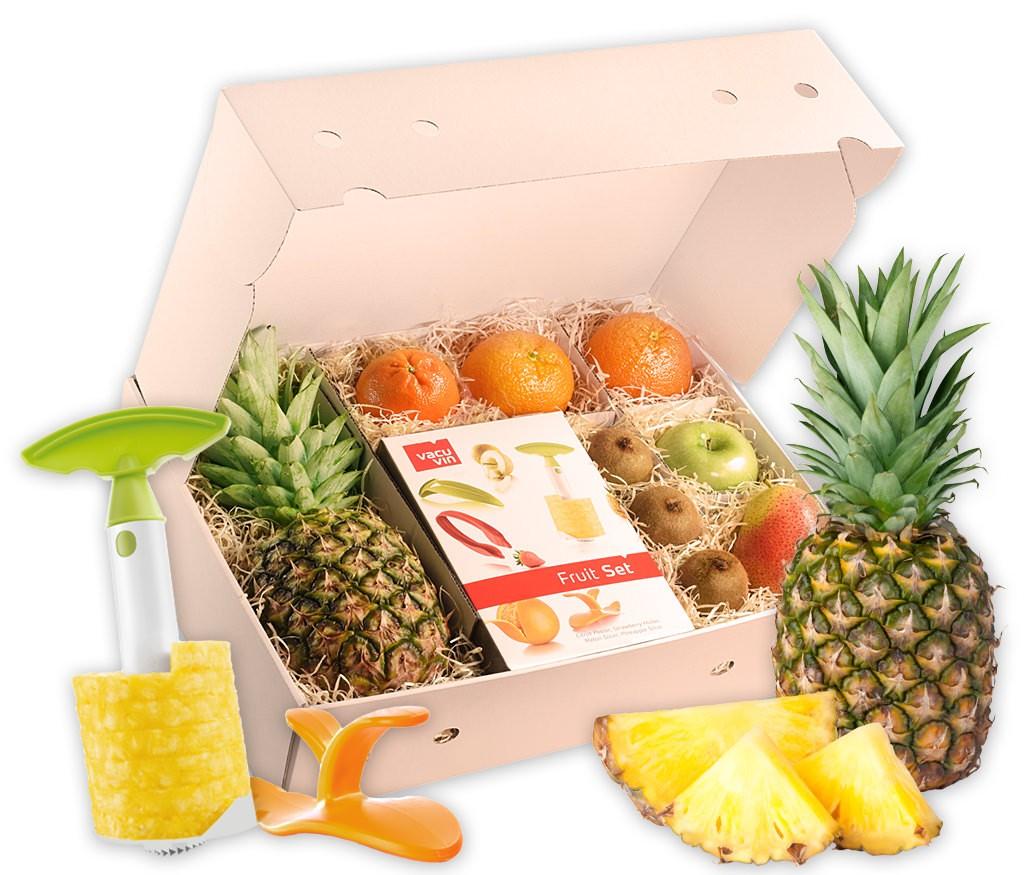 Obstbox Fruit-Set mit vielen exotischen Früchten und parktischen Küchenhelfern, um diese leicht zuzubereiten