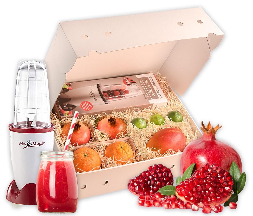 Smoothiebox mit Früchten für einen frischen Smoothie, wahlweise mit Smoothie-Maker Mr. Magic