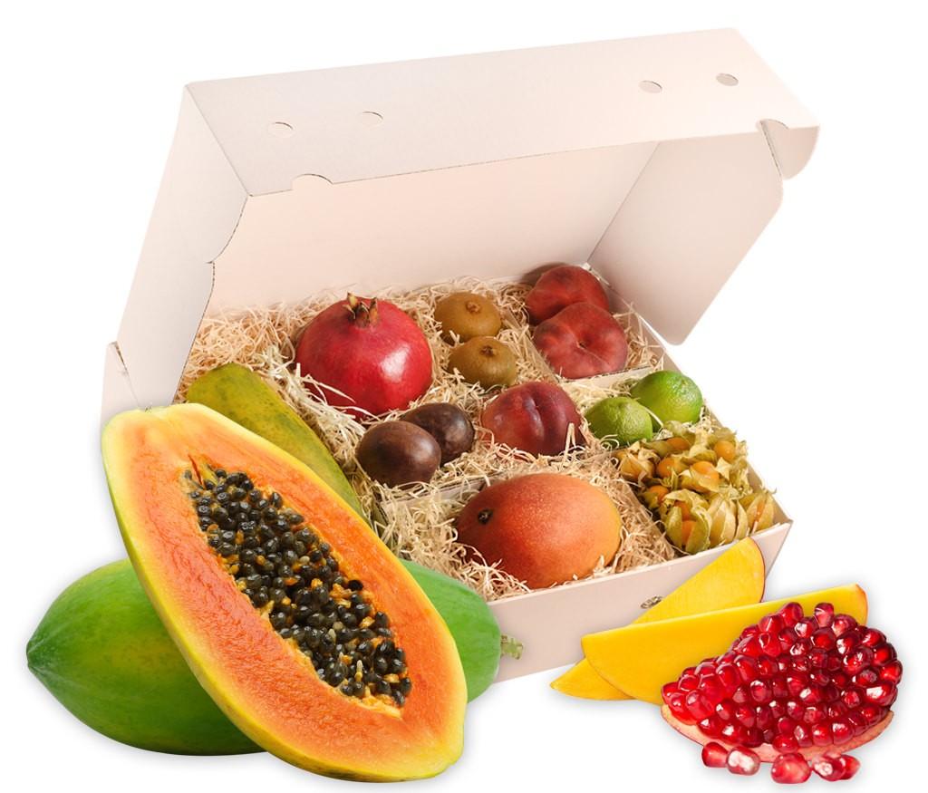 Obstbox Exotica, knackige exotische Früchte in einer liebevoll gepackten Geschenkbox