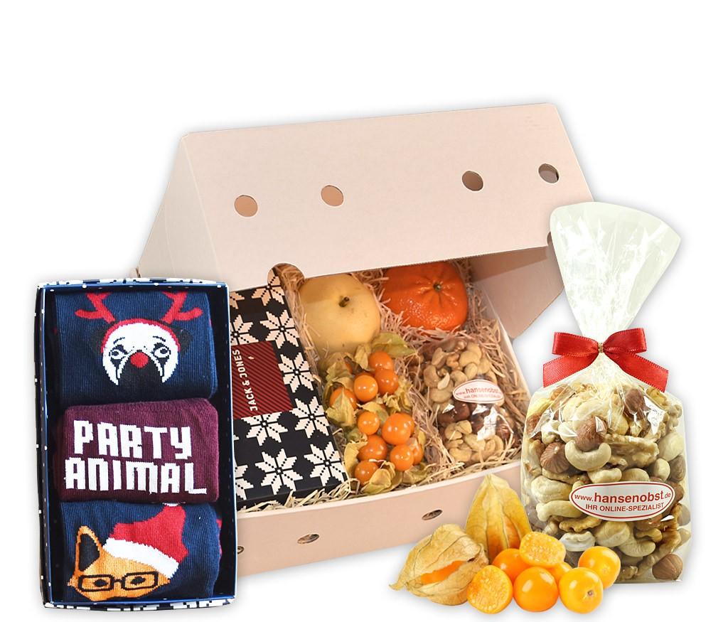 Obstbox doch Socken für Männer mit Weihnachtssocken, Nussmix und frischem Obst
