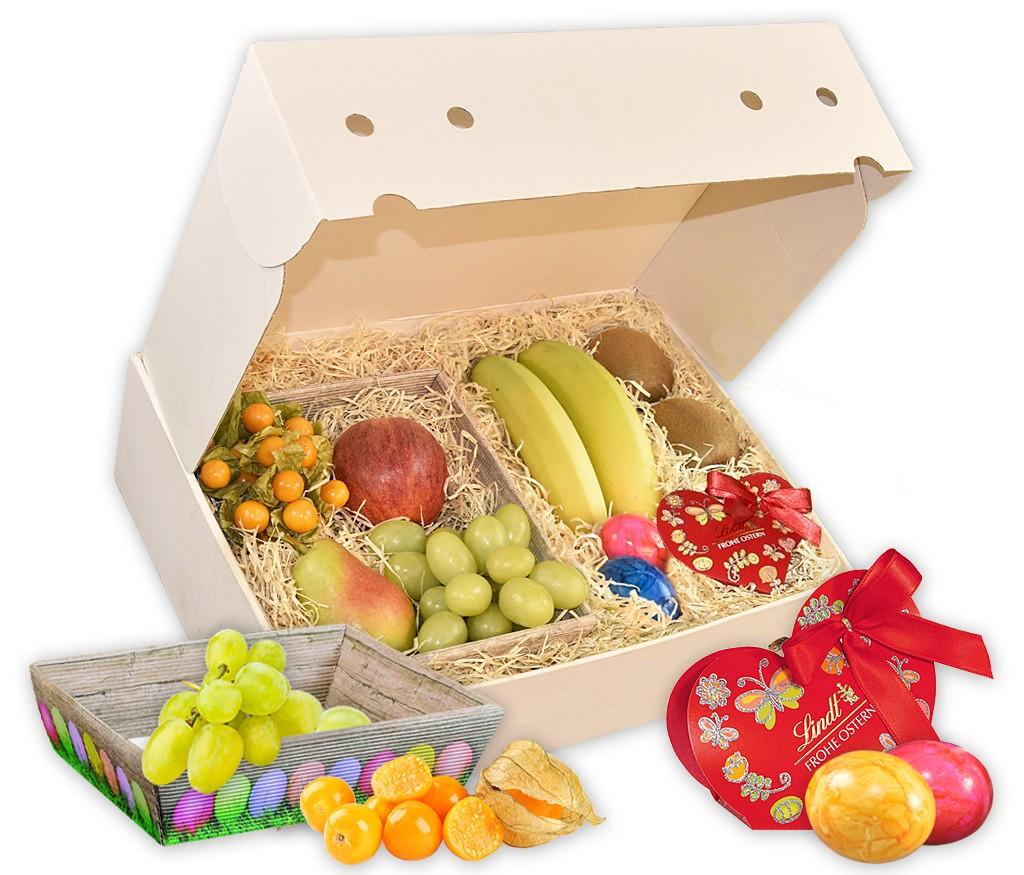 Obstbox Osterkörbchen mit neidlichem Holz-Osterkörbchen, Schokolade, fruchtigem Secco und frischen Früchten