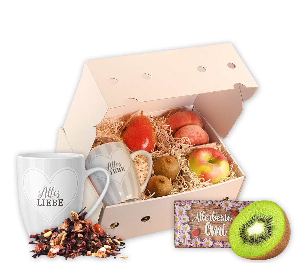 Obstbox Allerbeste Omi mit leckeren Früchten, einer Allerbesten-Omi-Tasse und aromatischem Früchtetee in einer dekorativen Geschenkbox
