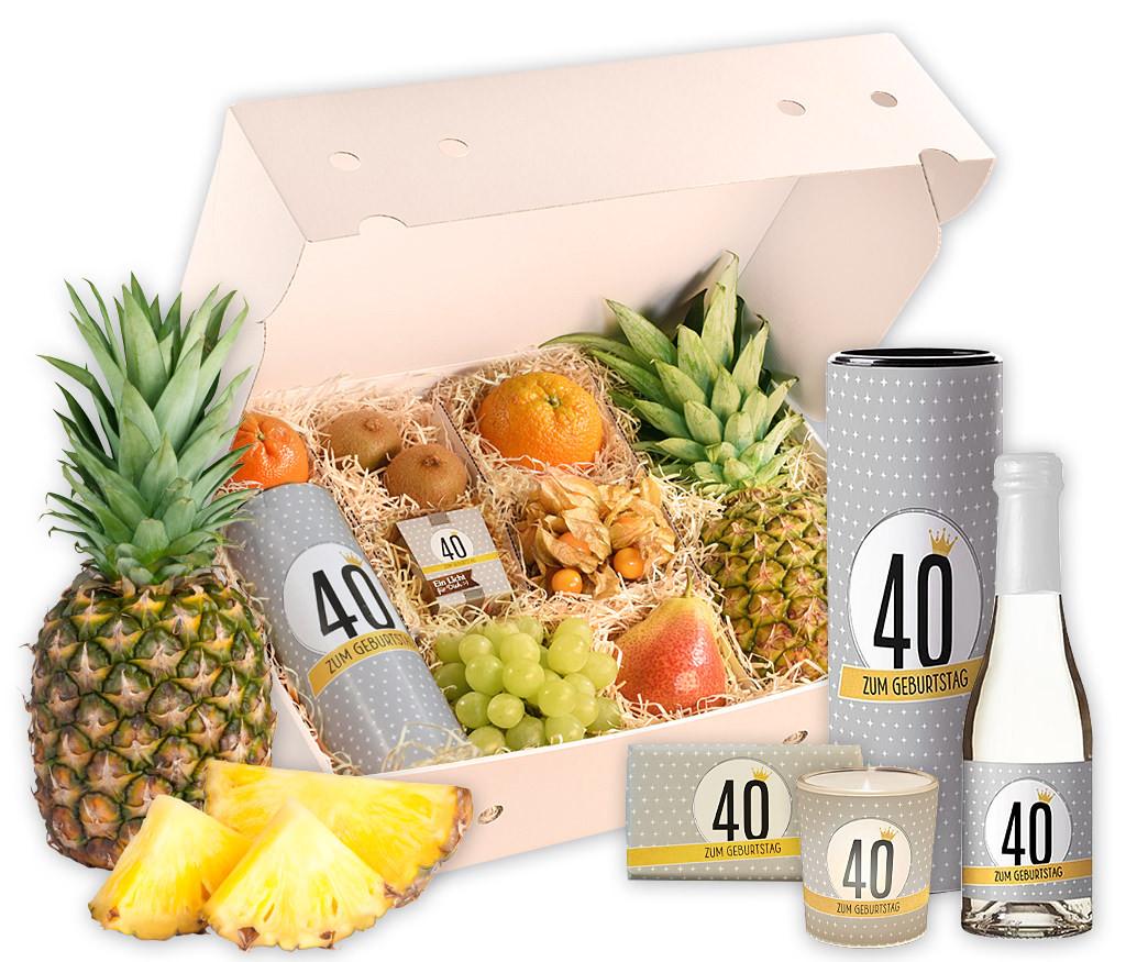 Obstbox zum 40. Geburtstag mit frischem Obst, Geburtstags-Prosecco, Windlicht und Schokolade