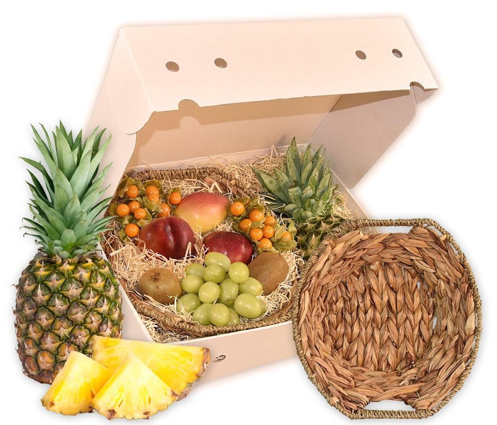 Obstkorb Wasserhyazinthe als ideales Geschenk mit frischen Früchten und einem formschönen Obstkorb aus Wasserhyazinthe