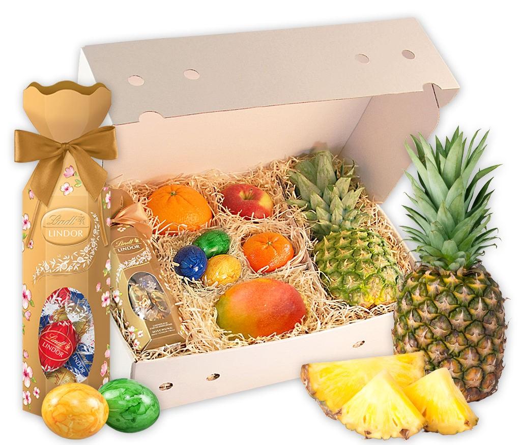 Obstbox Süßes Osternest mit purem Lindt Schokoladenglück und frischem Obst