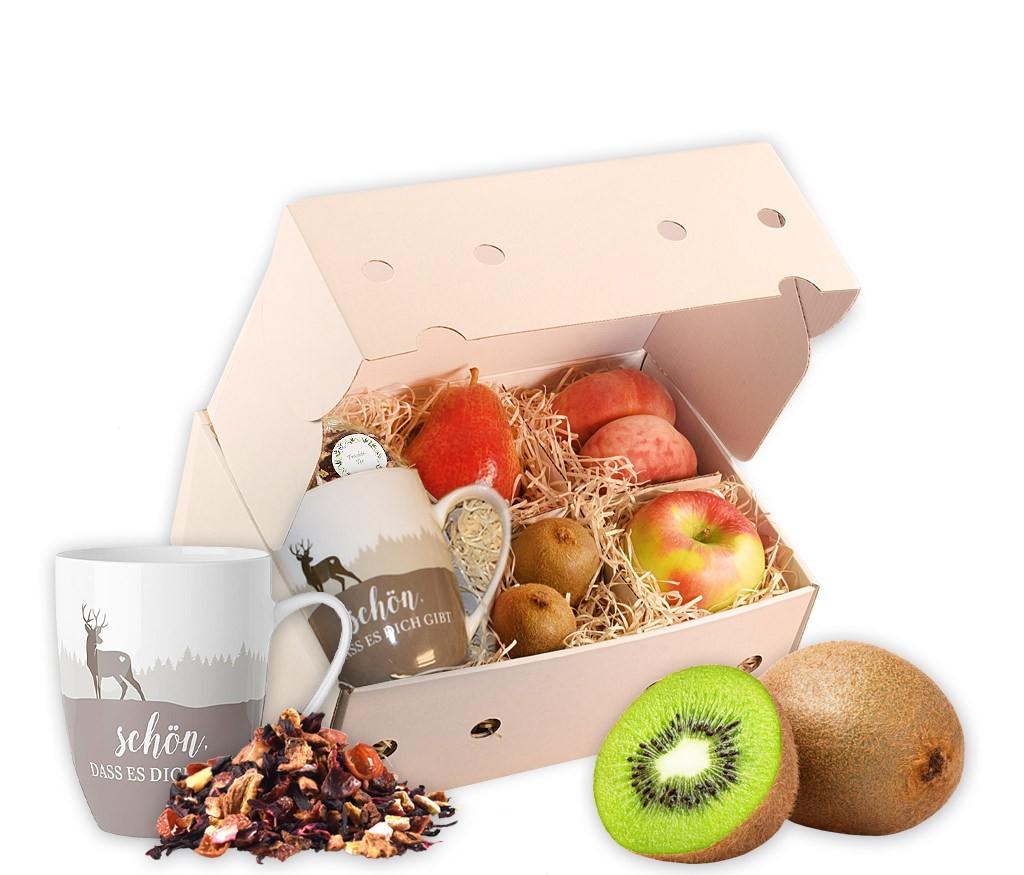 Obstbox Geschenk für Opa mit leckeren Früchten, einer Weltbester-Opa-Tasse und aromatischem Früchtetee in einer dekorativen Geschenkbox