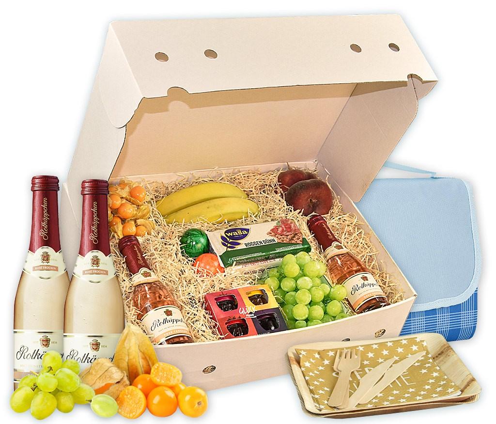 Obstbox Picknick-for-two, Sekt, Obst, Marmelade, Knäckebrot und mehr für ein romantisches Picknick im Grünen