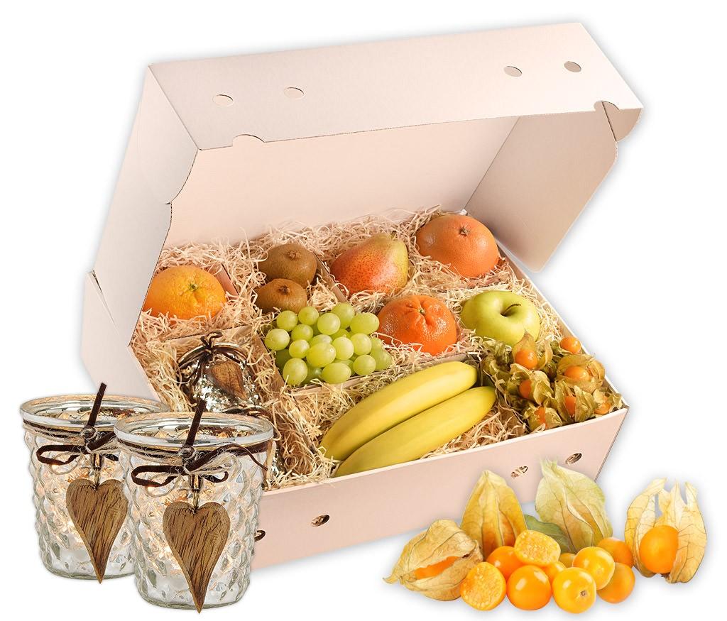 Obstbox Candle-Light mit frischem Obst und einem romantischen Windlicht schön verpackt in einer hübschen Geschenkbox