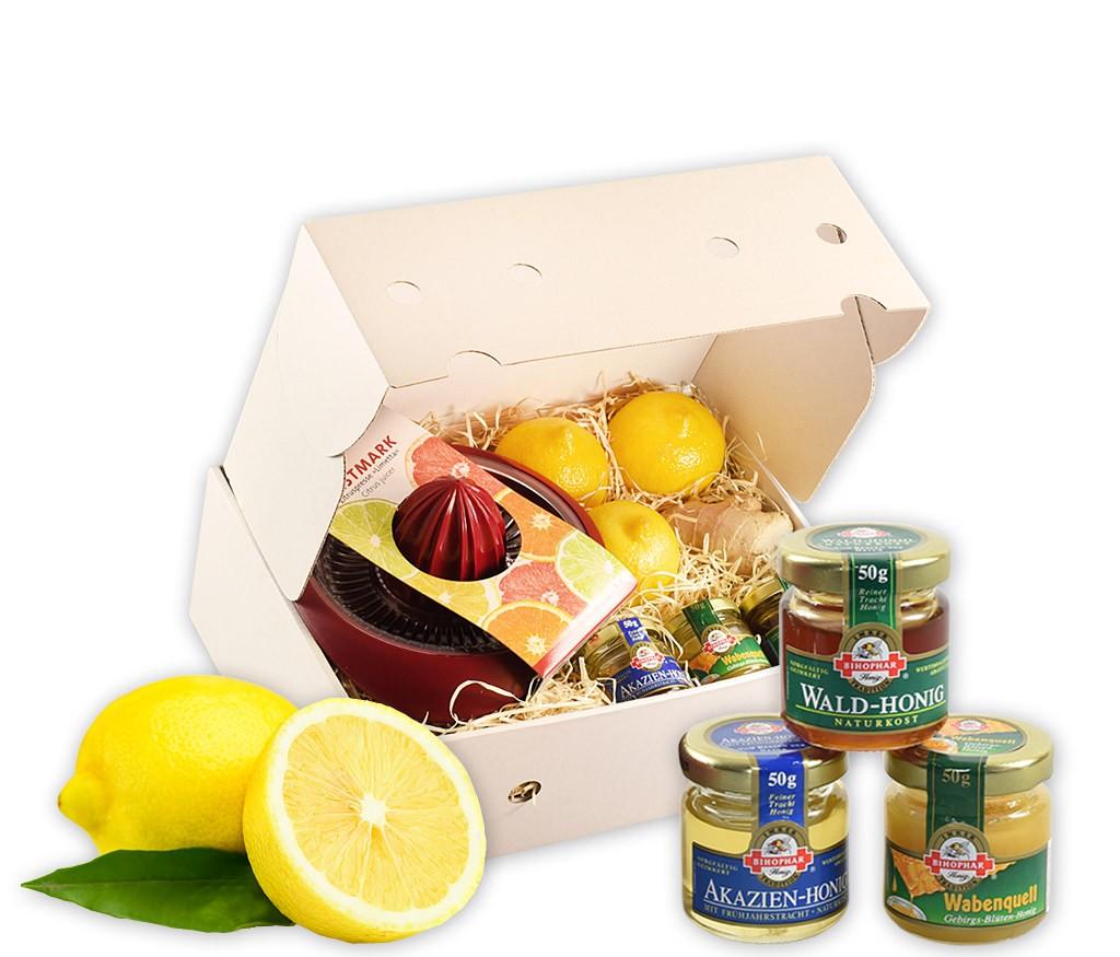 Obstbox Erkältungs-Trunk, wohltuende Zutaten in einer Geschenkbox, Gesundheit zum Verschenken