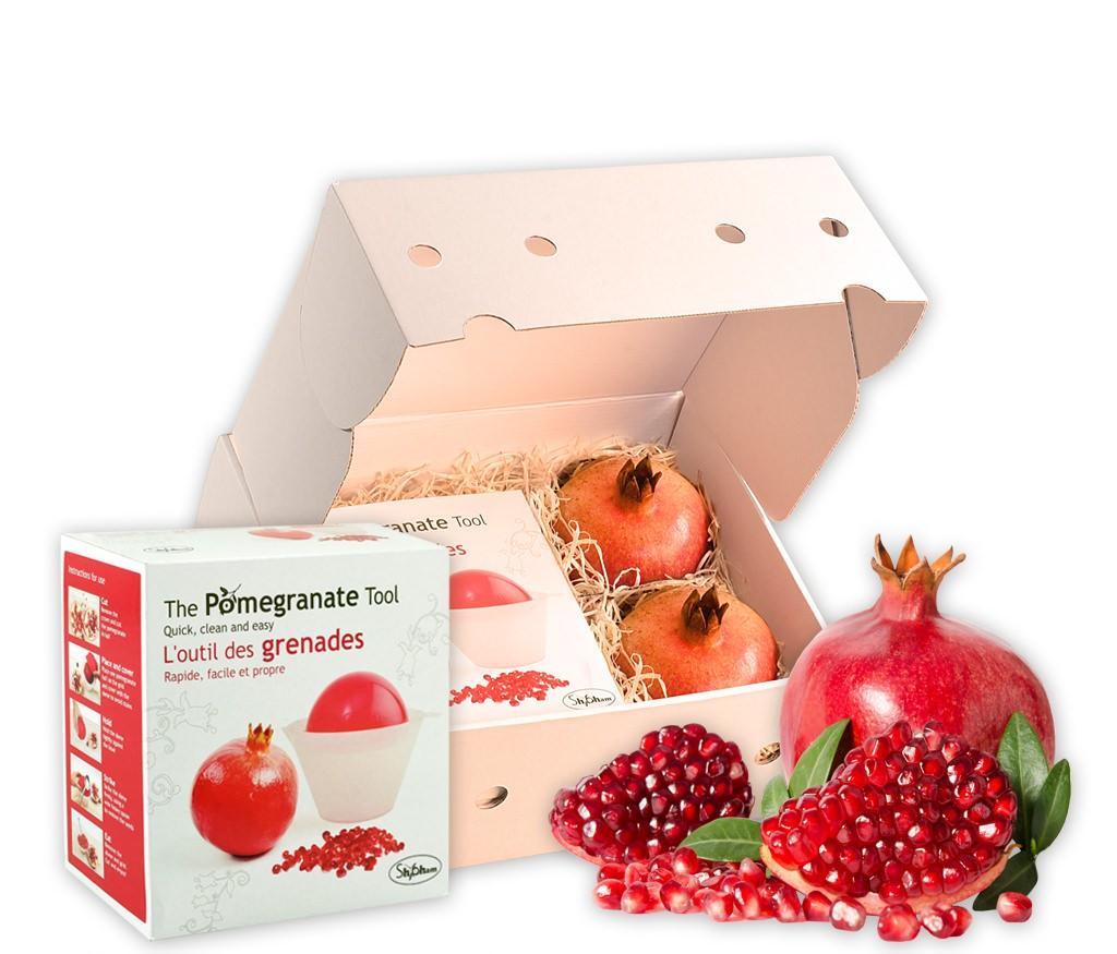 Obstbox Granatäpfel, rote Granatäpfel und praktischer Granatapfelklopfer