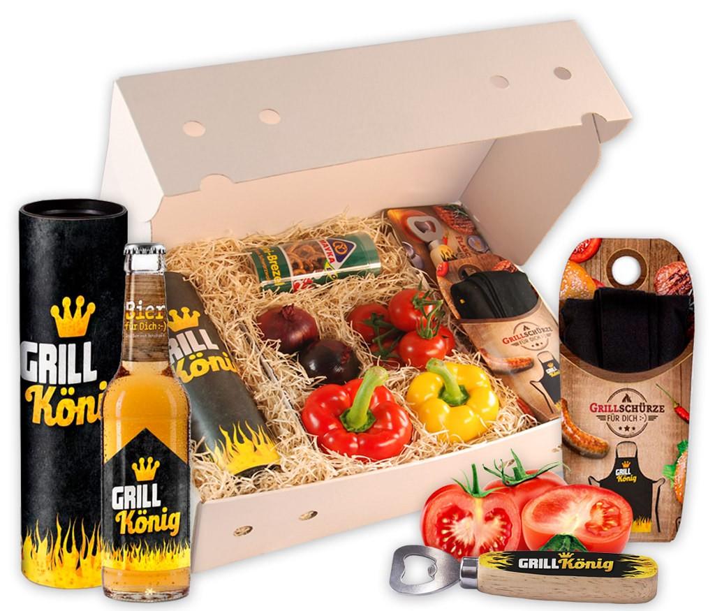 Grillbox Grillkönig mit knackigem Paprika, Zweibeln, Tomaten, knackigen Brezeln, Grillschürze, Flaschenöffner und Bier