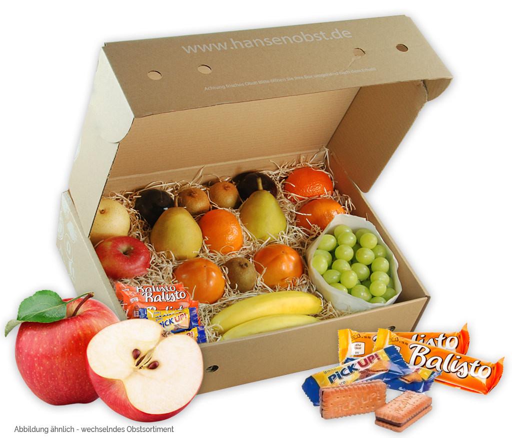 Business-Probier-Obstbox für die gesunde Pause zwischendurch mit viel frischem Obst und Nüssen oder Riegeln für den Arbeitsplatz