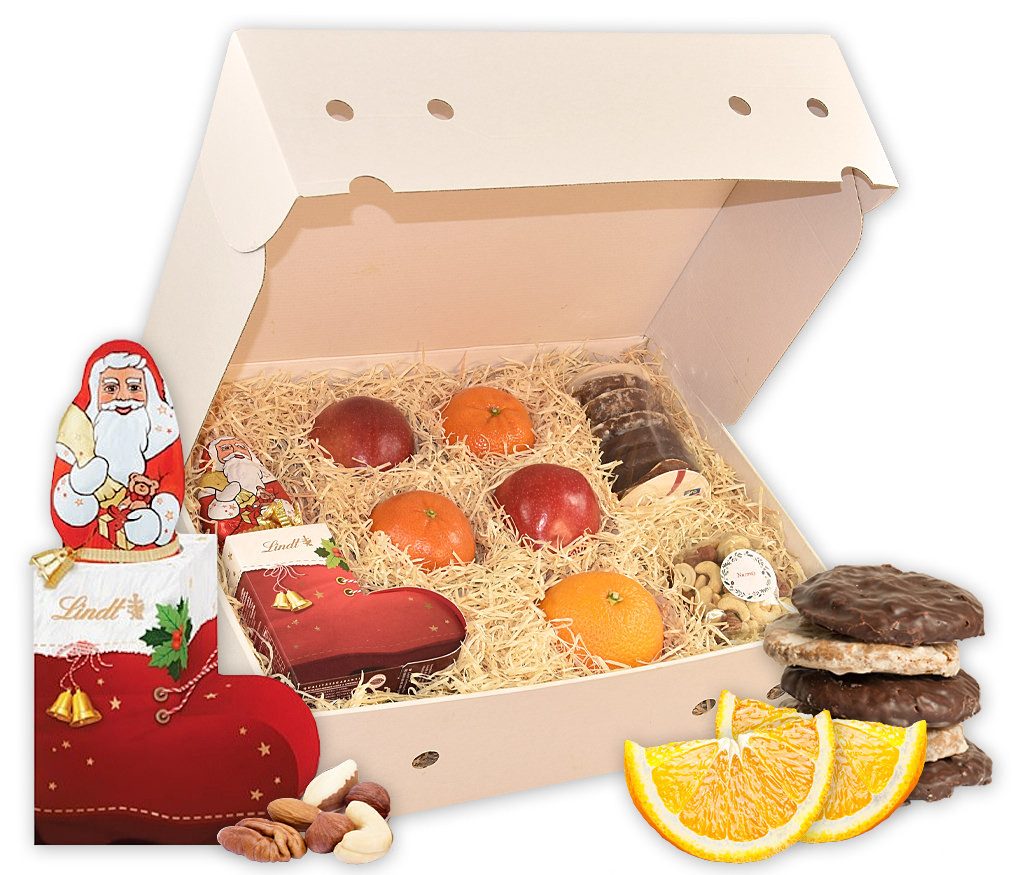 Obstbox Nikolausstiefel mit frischem Obst, Lebkuchen, knackigen Nusskernen und Lindt Schokolade im Stiefel