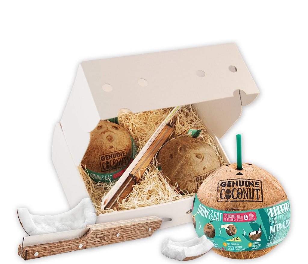 Geschenkbox Kokosnuss für Zwei mit BIO Trinkkokosnüssen und praktischem Kokosnussöffner