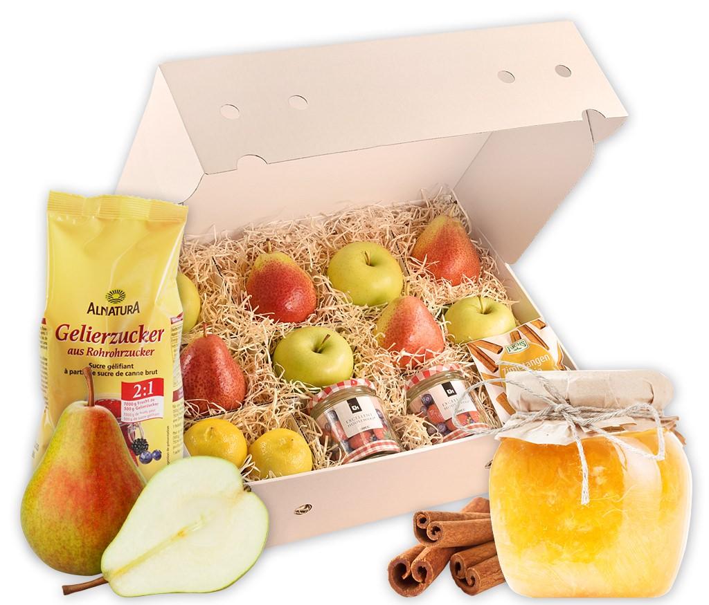 Rezeptbox Birnen-Apfel-Marmelade mit allen Zutaten für eine leckere Marmelade inklusive Gläser und Rezept