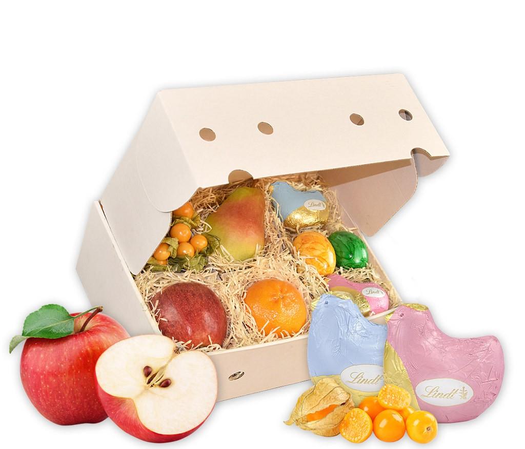 Obstbox Kleiner Ostergruß mit Lindt Osterhasen im Möhrenmobil und frischem Obst