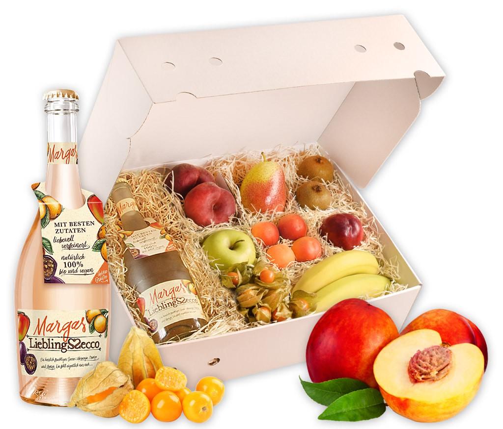 Obstbox Sommerprickeln mit Sommer-Secco und vielen vitaminreichen Früchten für dem Sommer