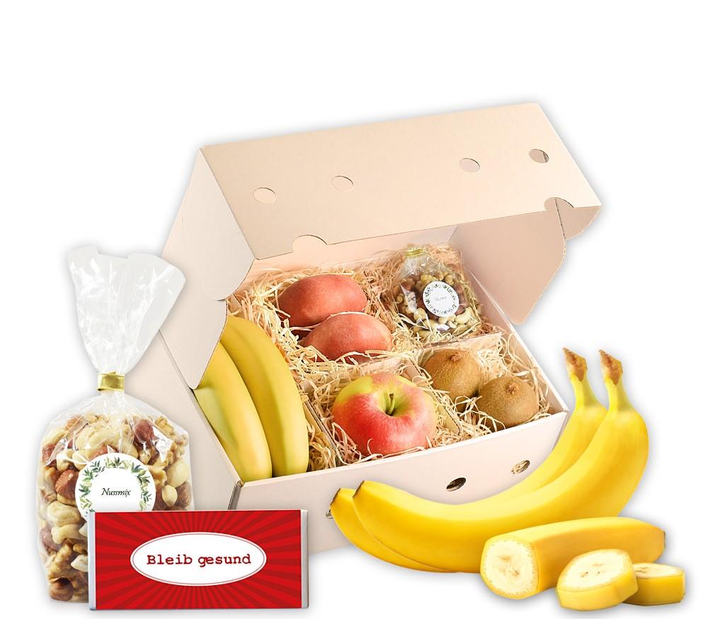 Obstbox Bleib gesund mit frischem Obst und gesunden Nusskernen
