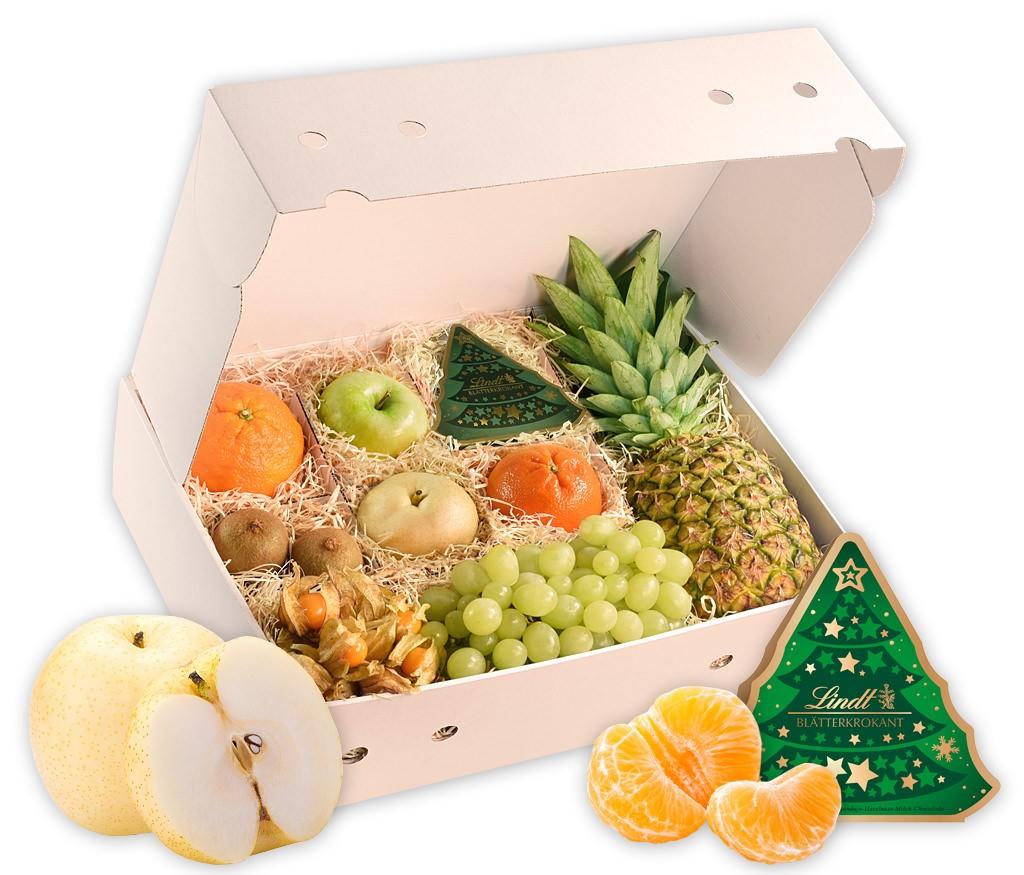 Obstbox Weihnachtstradition mit knackigen und vitaminreichen Früchten und weihnachtlicher Pralinenkasten in einer schönen Geschenkbox